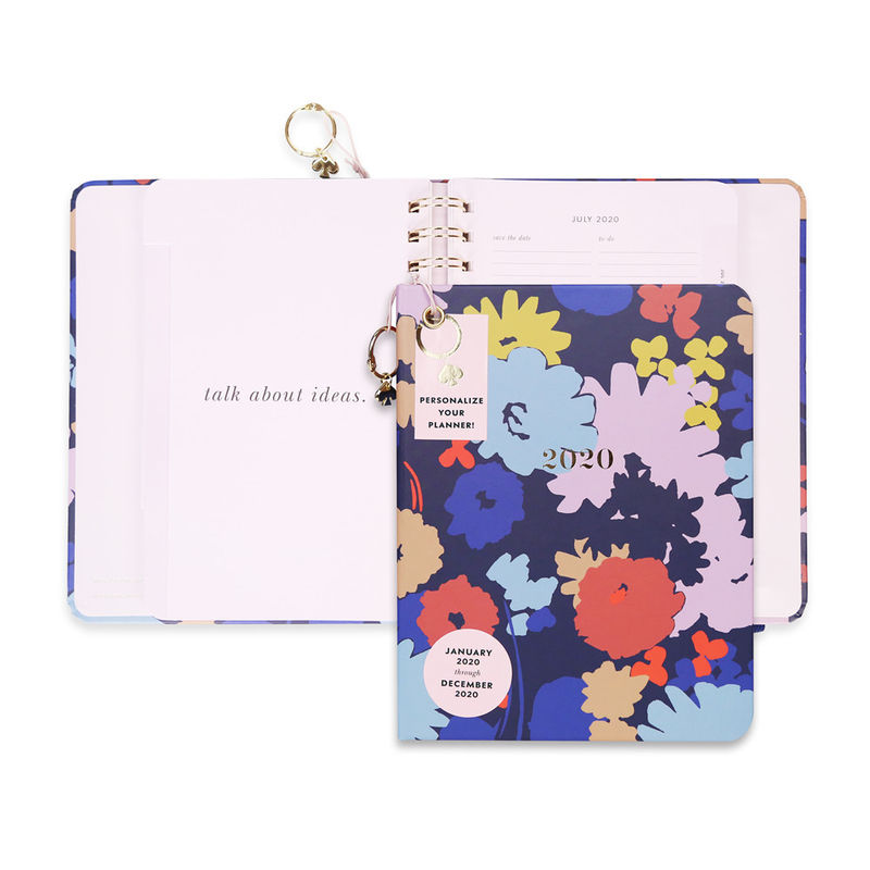 Cute Hardcover Spiral Planner Golden Wire Binding With Stickers / Pocket Folder / Pendant