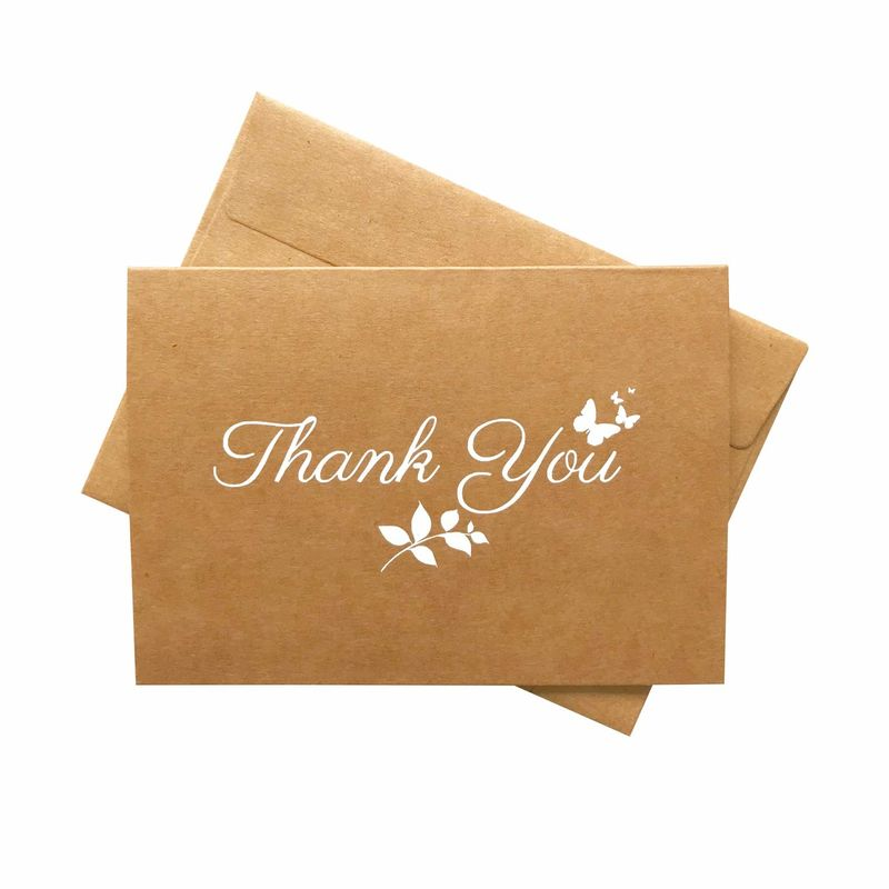 4 * 6 Inches Size Kraft Paper Card , Thank You Greeting Card With Matching Envelopes
